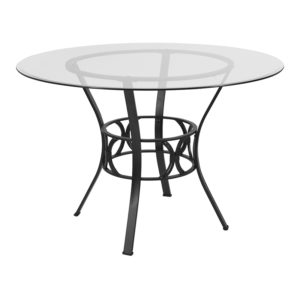 Wholesale Carlisle 45'' Round Glass Dining Table with Black Metal Frame