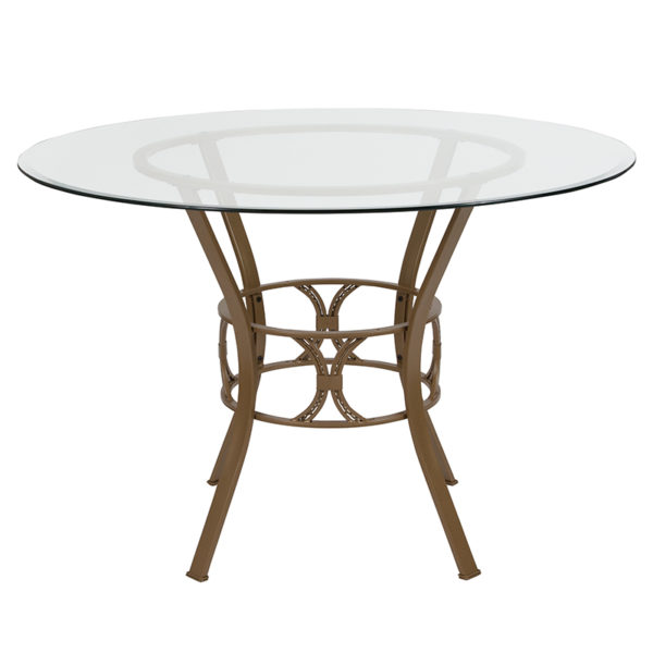 Lowest Price Carlisle 45'' Round Glass Dining Table with Matte Gold Metal Frame