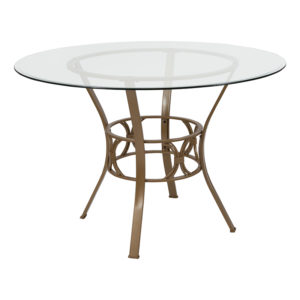 Wholesale Carlisle 45'' Round Glass Dining Table with Matte Gold Metal Frame
