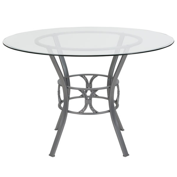 Lowest Price Carlisle 45'' Round Glass Dining Table with Silver Metal Frame