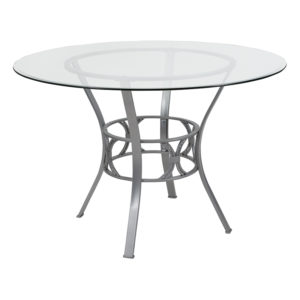 Wholesale Carlisle 45'' Round Glass Dining Table with Silver Metal Frame