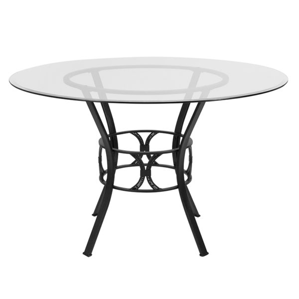 Lowest Price Carlisle 48'' Round Glass Dining Table with Black Metal Frame