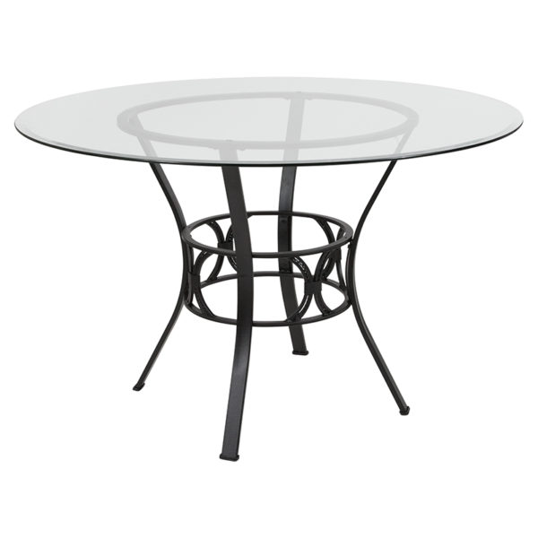 Wholesale Carlisle 48'' Round Glass Dining Table with Black Metal Frame
