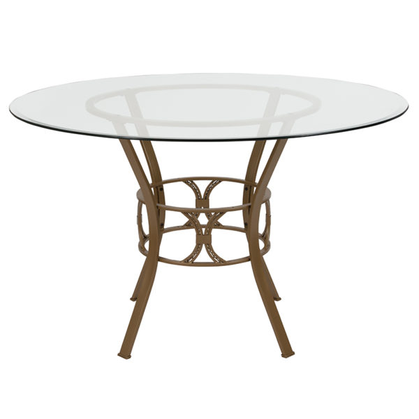 Lowest Price Carlisle 48'' Round Glass Dining Table with Matte Gold Metal Frame