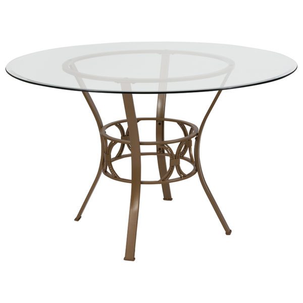 Wholesale Carlisle 48'' Round Glass Dining Table with Matte Gold Metal Frame