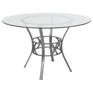 Wholesale Carlisle 48'' Round Glass Dining Table with Silver Metal Frame