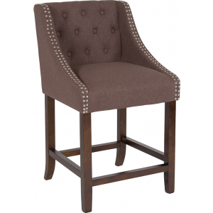"Wholesale Carmel Series 24"" High Transitional Tufted Walnut Counter Height Stool with Accent Nail Trim in Brown Fabric"