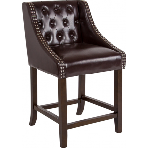 "Wholesale Carmel Series 24"" High Transitional Tufted Walnut Counter Height Stool with Accent Nail Trim in Brown Leather"