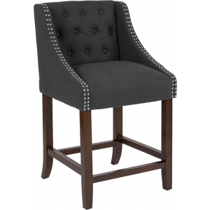 "Wholesale Carmel Series 24"" High Transitional Tufted Walnut Counter Height Stool with Accent Nail Trim in Charcoal Fabric"