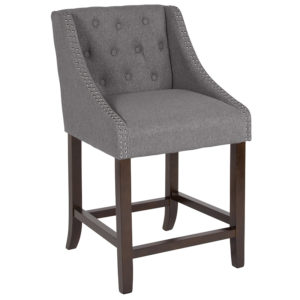 "Wholesale Carmel Series 24"" High Transitional Tufted Walnut Counter Height Stool with Accent Nail Trim in Dark Gray Fabric"