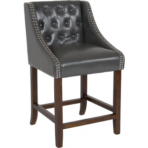 "Wholesale Carmel Series 24"" High Transitional Tufted Walnut Counter Height Stool with Accent Nail Trim in Dark Gray Leather"