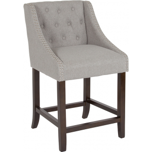 "Wholesale Carmel Series 24"" High Transitional Tufted Walnut Counter Height Stool with Accent Nail Trim in Light Gray Fabric"