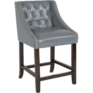 "Wholesale Carmel Series 24"" High Transitional Tufted Walnut Counter Height Stool with Accent Nail Trim in Light Gray Leather"