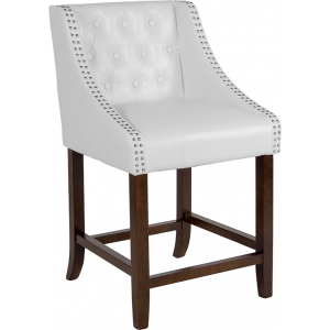"Wholesale Carmel Series 24"" High Transitional Tufted Walnut Counter Height Stool with Accent Nail Trim in White Leather"