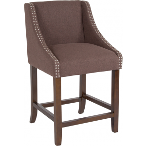 "Wholesale Carmel Series 24"" High Transitional Walnut Counter Height Stool with Accent Nail Trim in Brown Fabric"