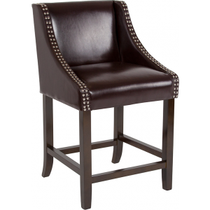 "Wholesale Carmel Series 24"" High Transitional Walnut Counter Height Stool with Accent Nail Trim in Brown Leather"