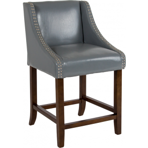"Wholesale Carmel Series 24"" High Transitional Walnut Counter Height Stool with Accent Nail Trim in Light Gray Leather"
