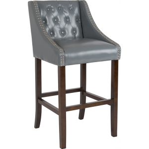 "Wholesale Carmel Series 30"" High Transitional Tufted Walnut Barstool with Accent Nail Trim in Light Gray Leather"