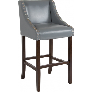 "Wholesale Carmel Series 30"" High Transitional Walnut Barstool with Accent Nail Trim in Light Gray Leather"
