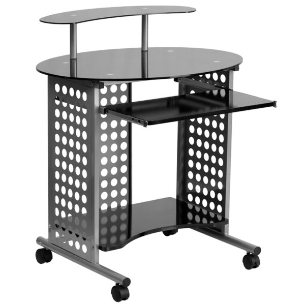 Wholesale Cassini Mobile Computer Desk with Black Glass Top