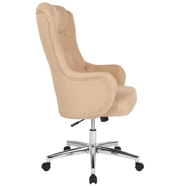 Lowest Price Chambord Home and Office Upholstered High Back Chair in Beige Fabric