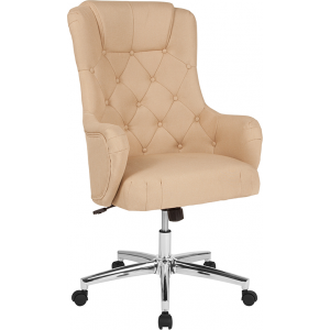 Wholesale Chambord Home and Office Upholstered High Back Chair in Beige Fabric