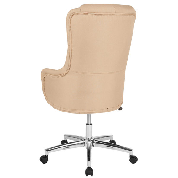 Contemporary Office Chair Beige Fabric High Back Chair