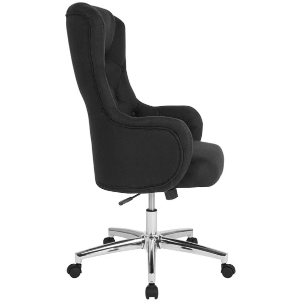 Lowest Price Chambord Home and Office Upholstered High Back Chair in Black Fabric