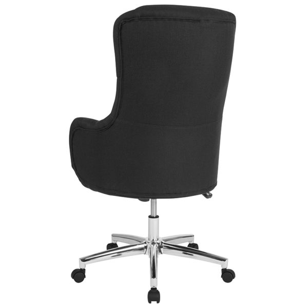 Contemporary Office Chair Black Fabric High Back Chair