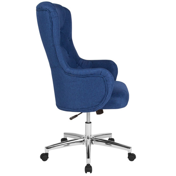 Lowest Price Chambord Home and Office Upholstered High Back Chair in Blue Fabric