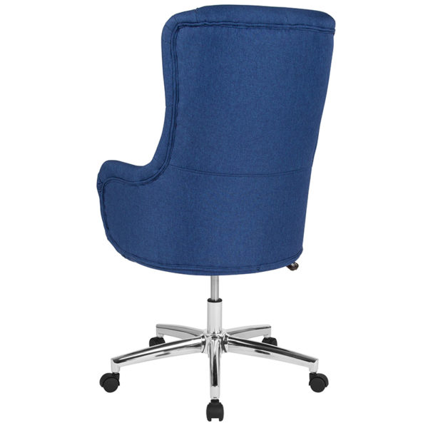Contemporary Office Chair Blue Fabric High Back Chair