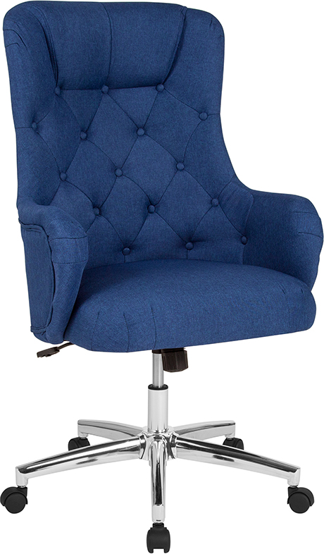 Wholesale Chambord Home and Office Upholstered High Back Chair in Blue Fabric