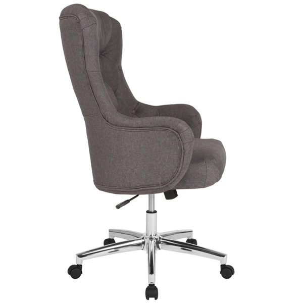 Lowest Price Chambord Home and Office Upholstered High Back Chair in Dark Gray Fabric