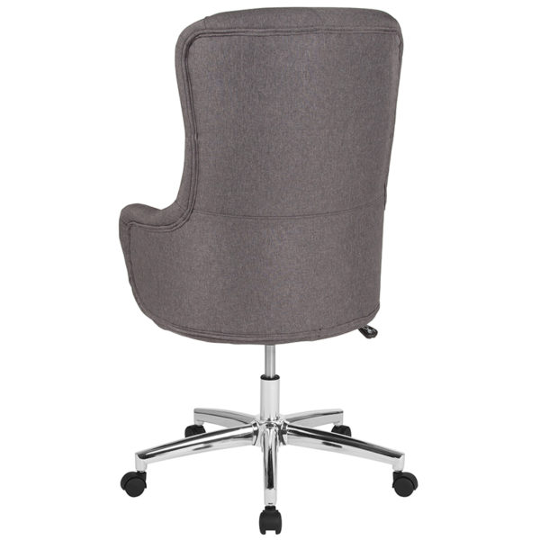 Contemporary Office Chair Dk Gray Fabric High Back Chair