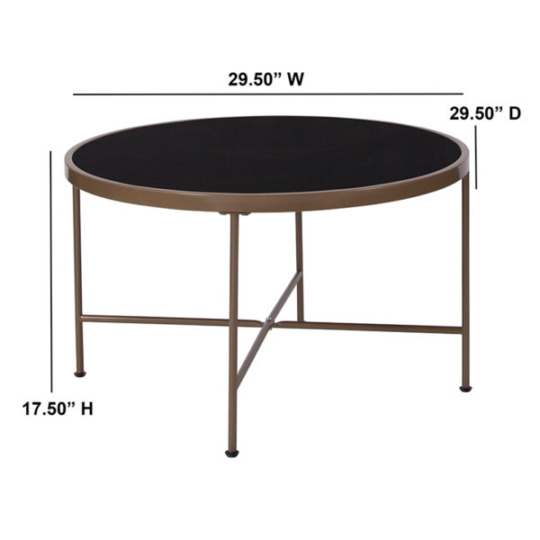 Lowest Price Chelsea Collection Black Glass Coffee Table with Matte Gold Frame