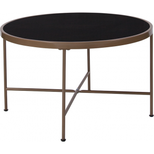 Wholesale Chelsea Collection Black Glass Coffee Table with Matte Gold Frame