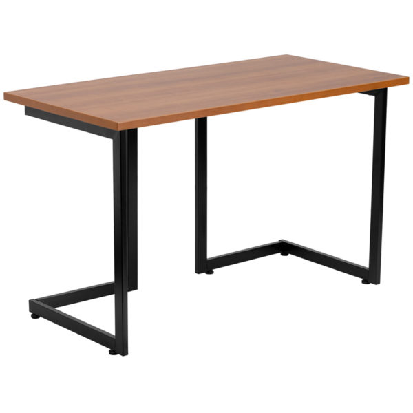 Lowest Price Cherry Computer Desk with Black Metal Frame