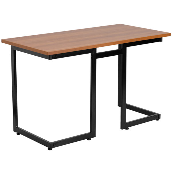 Wholesale Cherry Computer Desk with Black Metal Frame
