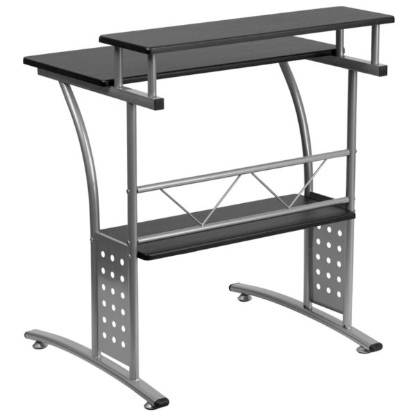 Contemporary Style Black Perforated Panel Desk