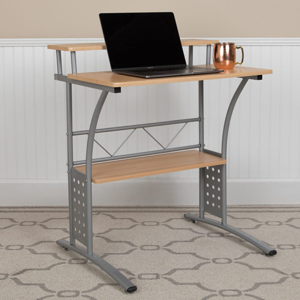 Lowest Price Clifton Maple Computer Desk with Top and Lower Storage Shelves