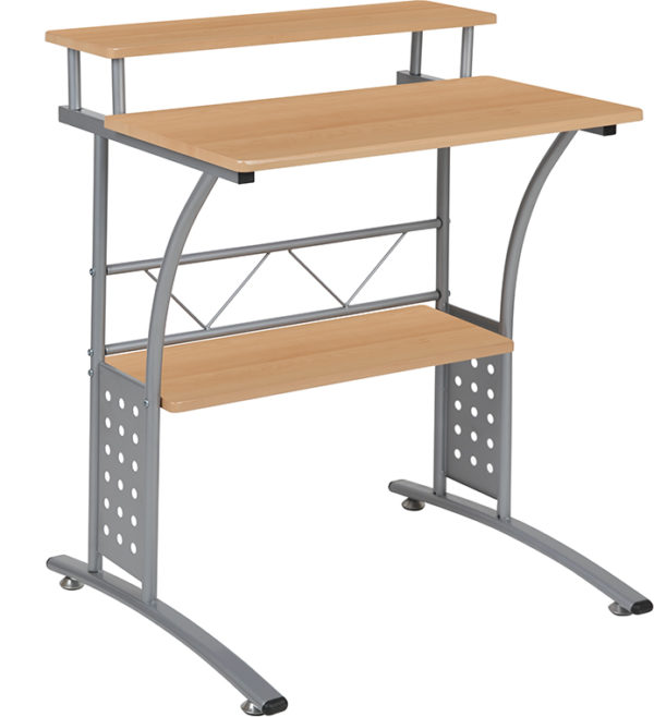 Wholesale Clifton Maple Computer Desk with Top and Lower Storage Shelves