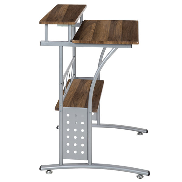 Contemporary Style Walnut 2 Shelf Computer Desk