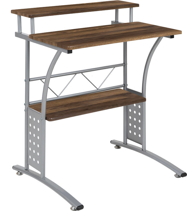 Wholesale Clifton Rustic Walnut Computer Desk with Top and Lower Storage Shelves