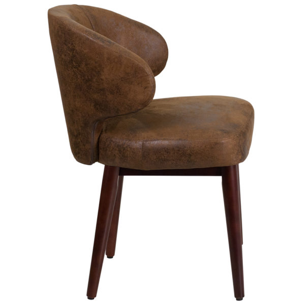 Lowest Price Comfort Back Series Bomber Jacket Microfiber Side Reception Chair with Walnut Legs