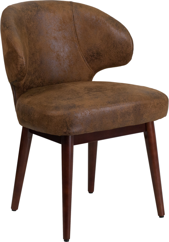 Wholesale Comfort Back Series Bomber Jacket Microfiber Side Reception Chair with Walnut Legs