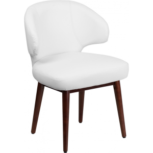 Wholesale Comfort Back Series White Leather Side Reception Chair with Walnut Legs