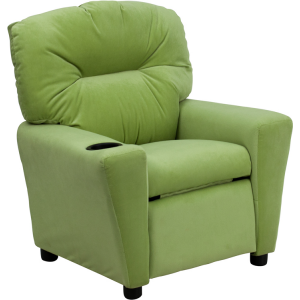 Wholesale Contemporary Avocado Microfiber Kids Recliner with Cup Holder