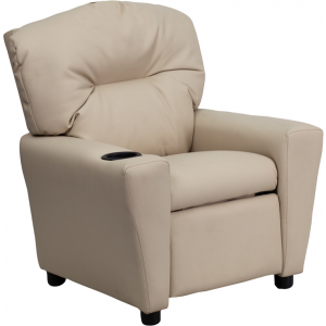 Wholesale Contemporary Beige Vinyl Kids Recliner with Cup Holder