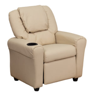 Wholesale Contemporary Beige Vinyl Kids Recliner with Cup Holder and Headrest