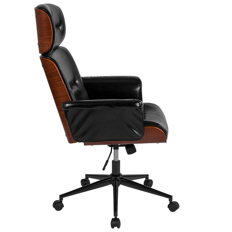 Contemporary Black Leather High Back Walnut Wood Executive Swivel Ergonomic Office Chair Restaurant Furniture Org